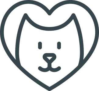 dog face encircled by a heart icon
